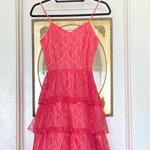 1940's watermelon pink tiered lace dress shortened